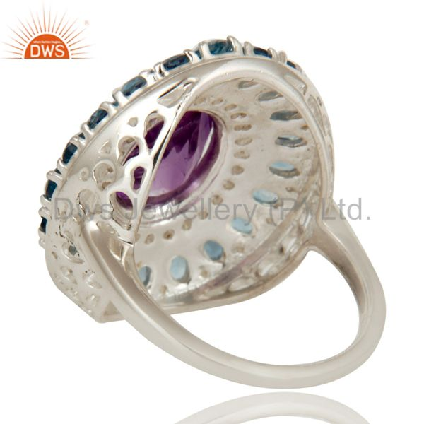 Suppliers 925 Sterling Silver Amethyst And Blue Topaz Cluster Statement Ring