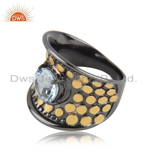 Suppliers Genuine Blue Topaz Gold and Black Plated Cocktail Ring Manufacturer India