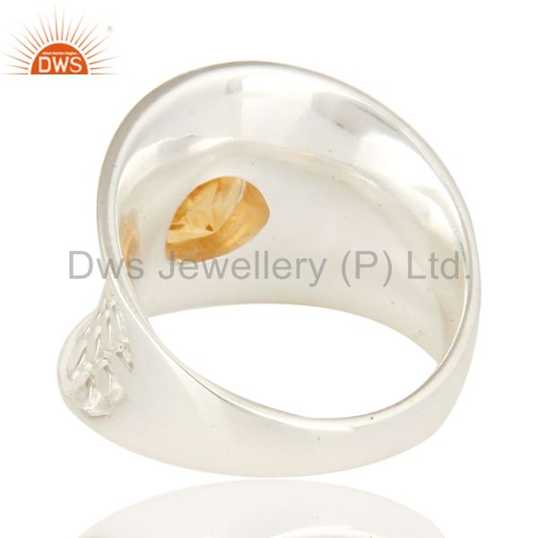 Suppliers Natural Citrine Gemstone 925 Sterling Silver Dome Ring