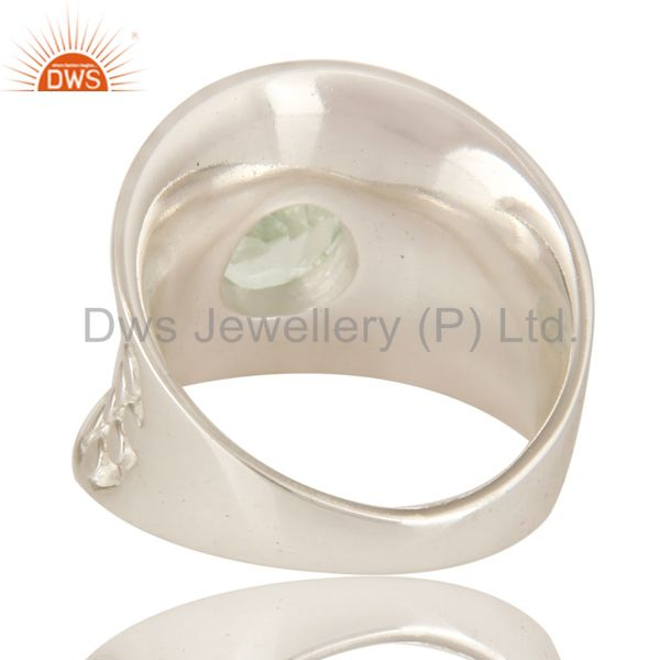 Suppliers 925 Sterling Silver Green Amethyst Gemstone Prong Set Dome Ring