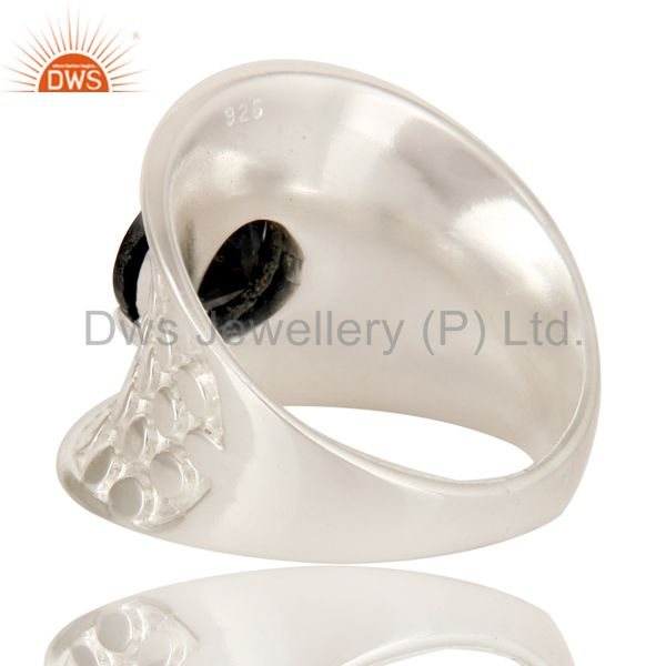 Suppliers 925 Sterling Silver Prong Set Black Onyx Fine Gemstone Dome Ring