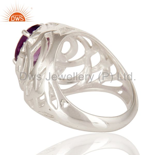 Suppliers 925 Sterling Silver Natural Amethyst Gemstone Prong Set Ring