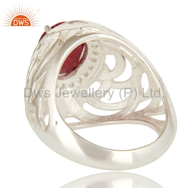Suppliers 925 Sterling Silver Prong Set Ruby And White Topaz Designer Ring