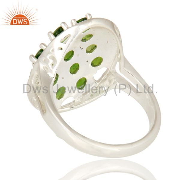 Suppliers 925 Sterling Silver Peridot And Chrome Diopside Solitaire Ring