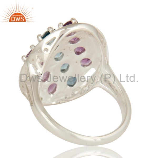 Suppliers 925 Sterling Silver Peridot, Amethyst And Blue Topaz Cluster Cocktail Ring