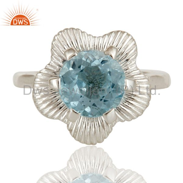 Suppliers Prong Set Blue Topaz Gemstone Cocktail Ring In Sterling Silver