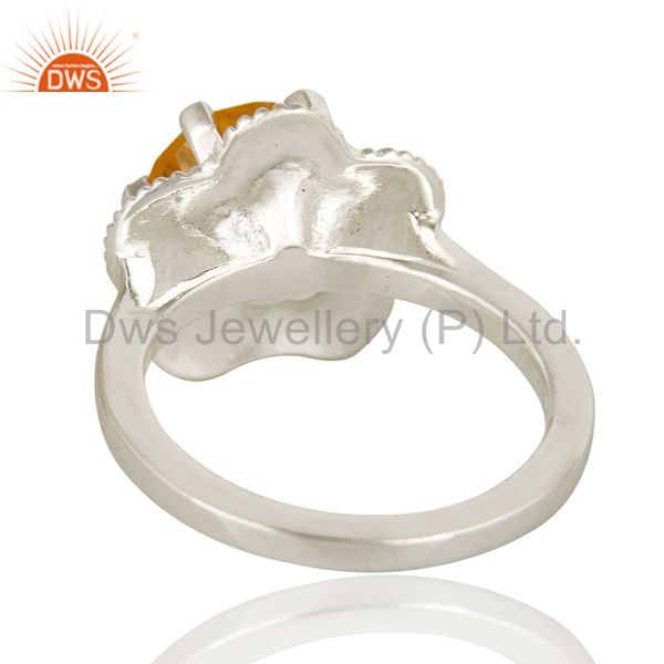 Suppliers Natural Citrine Gemstone Sterling Silver Ring Designer Fine Jewelry