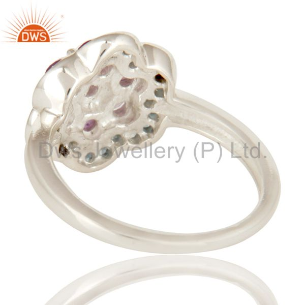 Suppliers 925 Sterling Silver Amethyst And Blue Topaz Gemstone Cluster Cocktail Ring