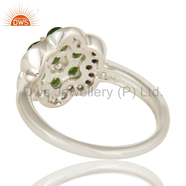 Suppliers 925 Sterling Silver Chrome Diopside And White Topaz Cluster Cocktail Ring