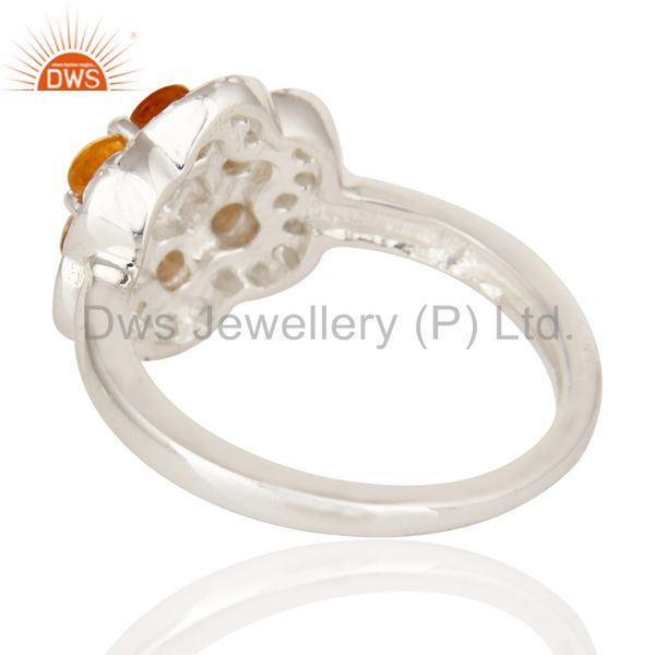 Suppliers Natural Citrine And White Topaz Sterling Silver Solitaire Cocktail Ring