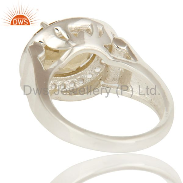 Suppliers 925 Sterling Silver Citrine Gemstone And White Topaz Cocktail Ring