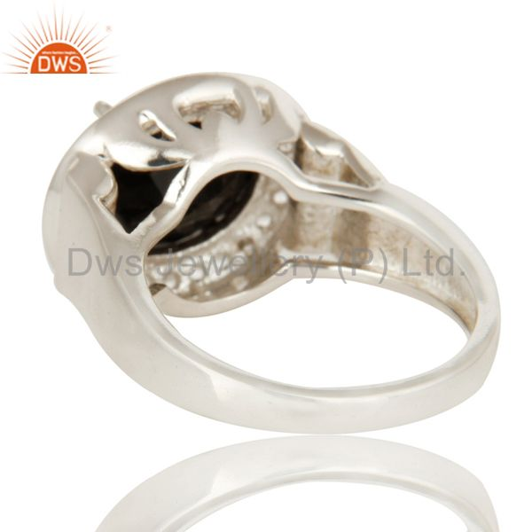 Suppliers 925 Sterling Silver Prong Set Black Onyx And White Topaz Cocktail Ring