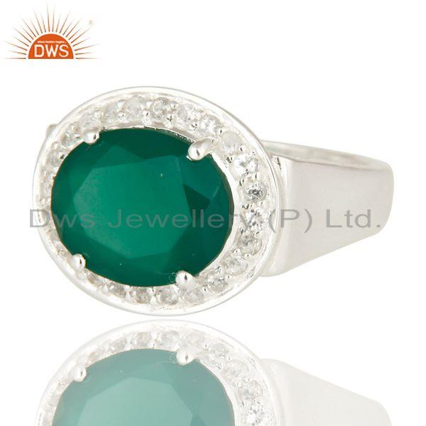 Suppliers 925 Sterling Silver Green Onyx And White Topaz Solitaire Ring