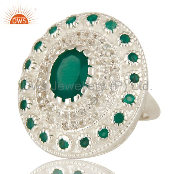 Suppliers 925 Sterling Silver Green Onyx And White Topaz Cocktail Fashion Ring