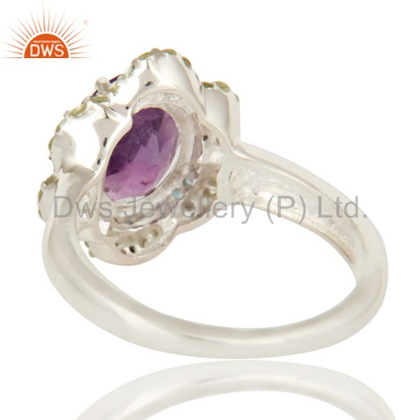 Suppliers 925 Sterling Silver Blue Topaz, Peridot And Amethyst Gemstone Ring