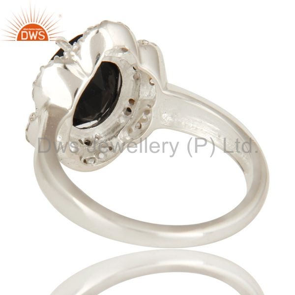 Suppliers 925 Sterling Silver Black Spinel And White Topaz Gemstone Cocktail Ring