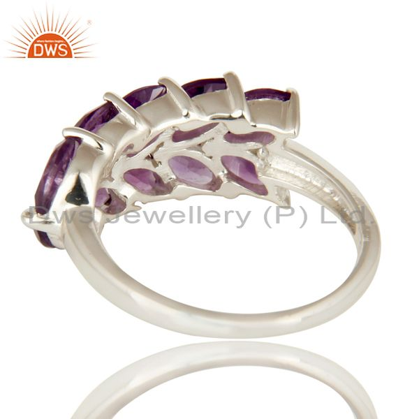 Suppliers 925 Sterling Silver Natural Amethyst Marquise Cut Gemstone Cluster Ring