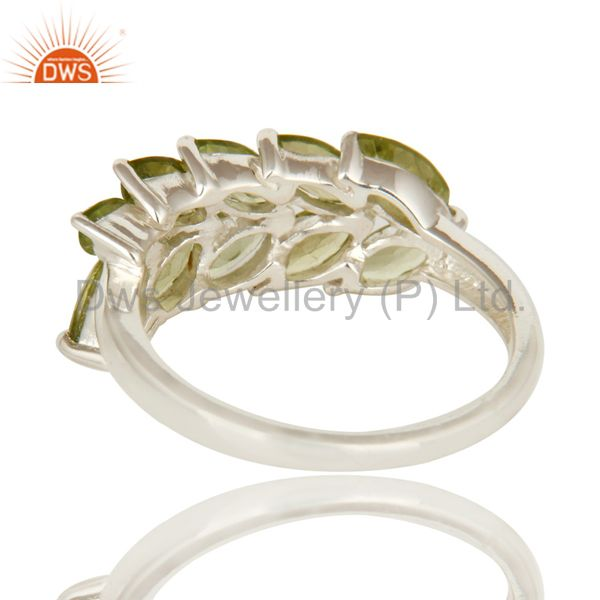 Suppliers 925 Sterling Silver Natural Peridot Gemstone Marquise Cluster Ring