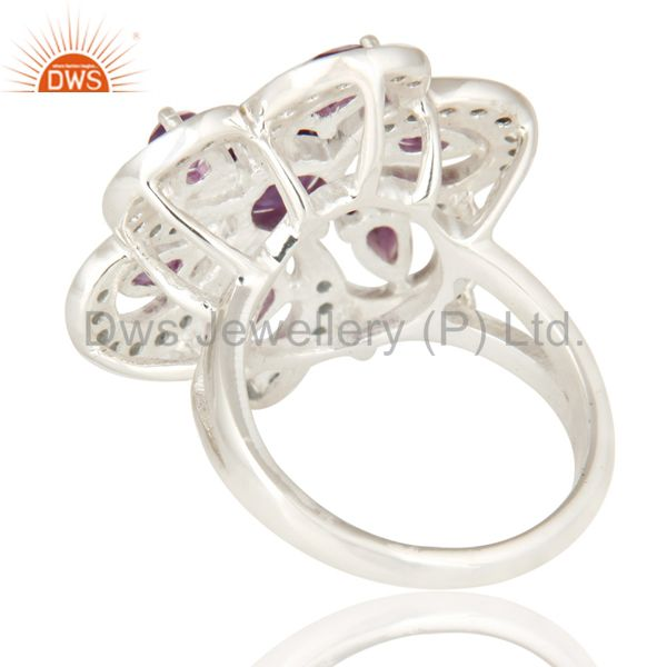 Suppliers Flower Design London Blue Topaz And Amethyst Ring in Sterling Silver