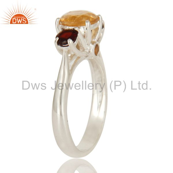Suppliers 925 Sterling Silver Citrine And Garnet Gemstone Prong Set Ring