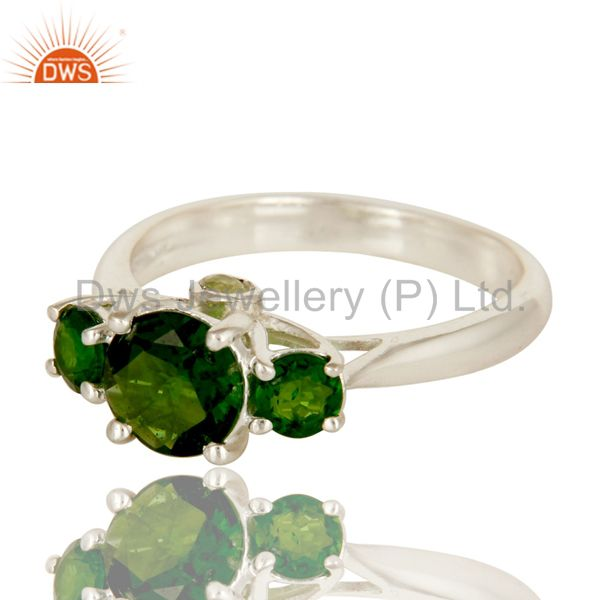 Suppliers 925 Sterling Silver Chrome Diopside And Peridot Prong Set Three Stone Ring