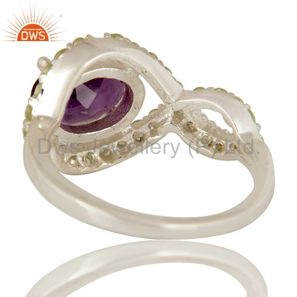 Suppliers 925 Sterling Silver Amethyst And Peridot Solitaire Ring
