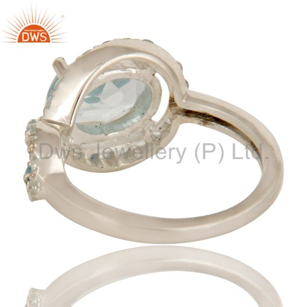 Suppliers 925 Sterling Silver Blue Topaz Gemstone Halo Style Infinity Designer Ring