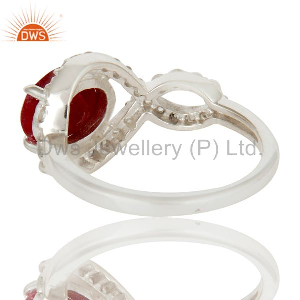 Suppliers 925 Sterling Silver Ruby And White Topaz Prong Set Gemstone Designer Ring