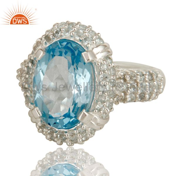 Suppliers 925 Sterling Silver Natural Sky Blue Topaz Gemstone Solitaire Halo Ring
