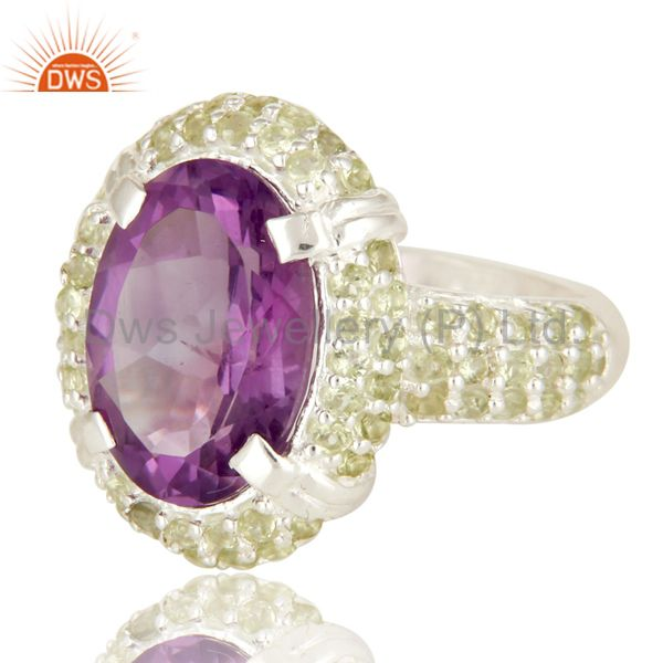 Suppliers 925 Sterling Silver Amethyst And Peridot Gemstone Halo Style Cocktail Ring