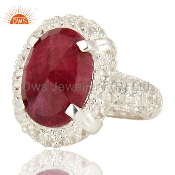 Suppliers 925 Sterling Silver Indian Ruby Corundum And White Topaz Statement Ring