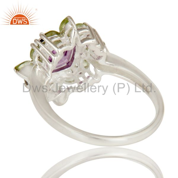 Suppliers 925 Sterling Silver Amethyst And Peridot Flower Designer Cocktail Ring