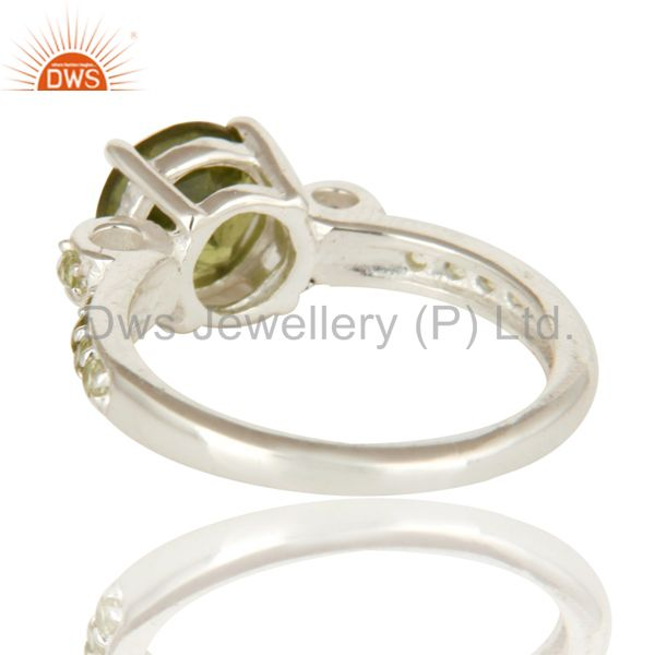 Suppliers 925 Sterling Silver Natural Peridot Gemstone Halo Solitaire Engagement Ring
