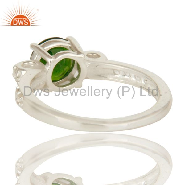 Suppliers 925 Sterling Silver Chrome Diopside Round Cut White Topaz Gemstone Halo Ring