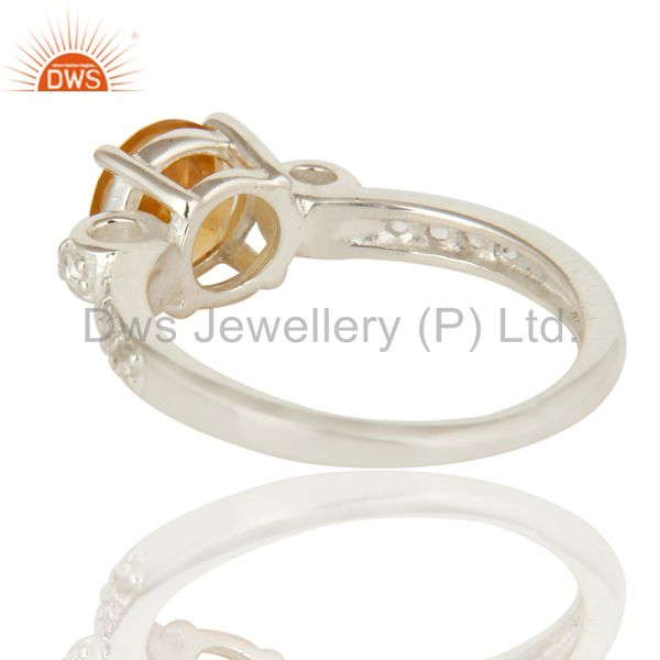 Suppliers Natural Citrine And White Topaz 925 Sterling Silver Halo Inspired Solitaire Ring