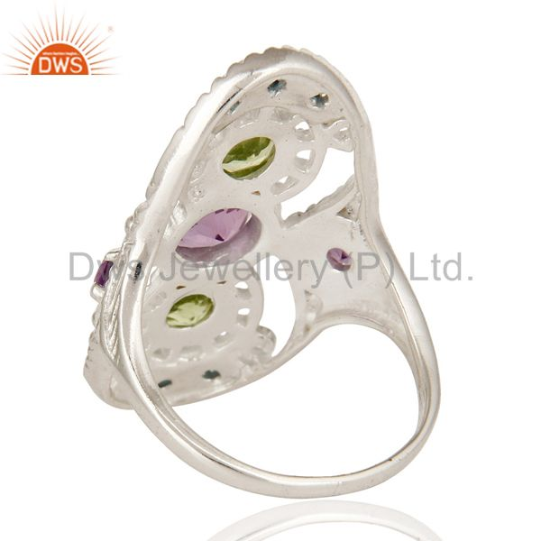 Suppliers 925 Sterling Silver Amethyst, Blue Topaz And Peridot Cluster Statement Ring