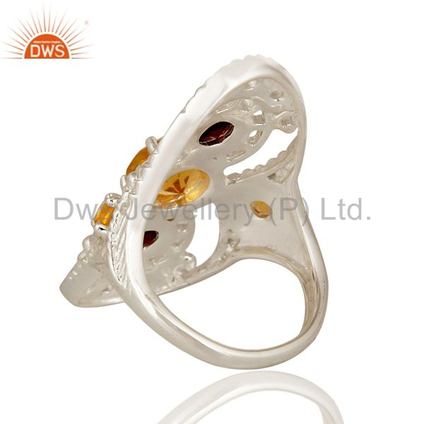 Suppliers 925 Sterling Silver Citrine Garnet And White Topaz Statement Ring