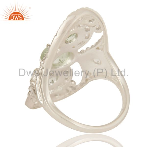 Suppliers 925 Sterling Silver Green Amethyst And White Topaz Statement Ring