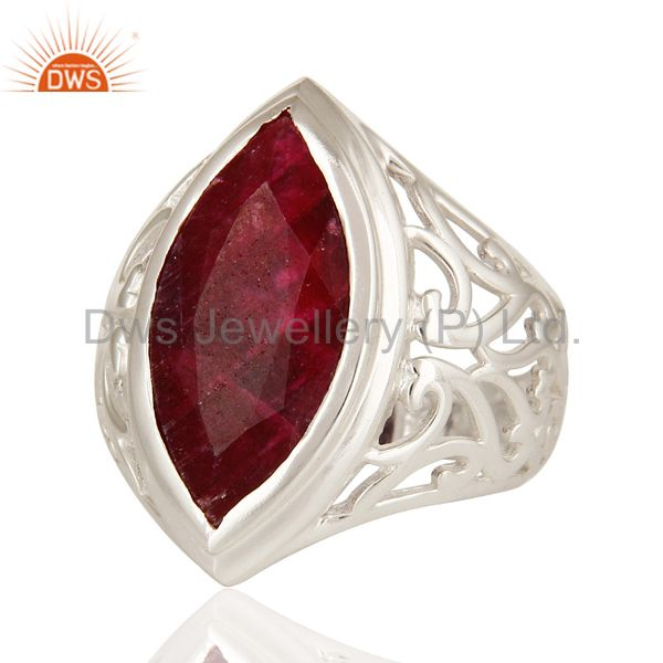 Suppliers 925 Sterling Silver Red Ruby Corundum Gemstone Marquise Cut Statement Ring