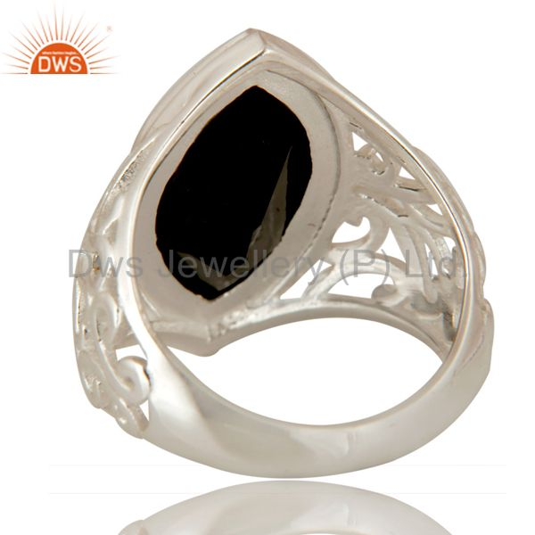 Suppliers Marquise Cut Black Onyx Gemstone Ring In Solid Sterling Silver