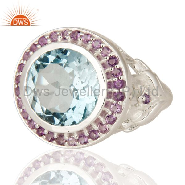 Suppliers Amethyst And Blue Topaz Cocktail Ring Fine Sterling Silver Jewelry