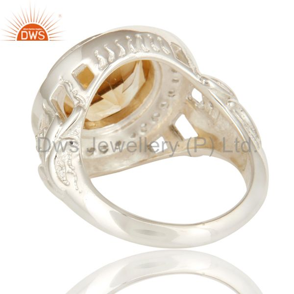 Suppliers Sterling Silver Natural Citrine And White Topaz Gemstone Designer Cocktail Ring