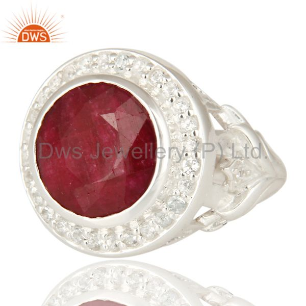 Suppliers Red Corundum And White Topaz 925 Sterling Silver Cocktail Ring