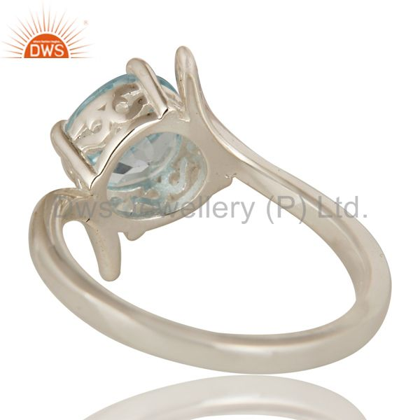 Suppliers 925 Sterling Silver Blue Topaz Gemstone Solitaire Engagement Ring
