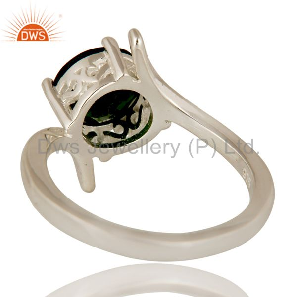 Suppliers Natural Chrome Diopside Round Cut Genuine Sterling Silver Ring
