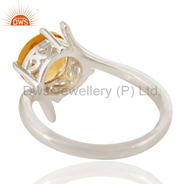 Suppliers Natural Citrine Gemstone Genuine Sterling Silver Solitaire Ring
