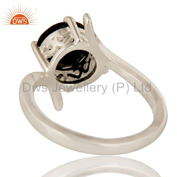 Suppliers 925 Sterling Silver Natural Black Onyx Solitaire Engagement Ring