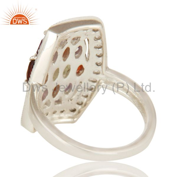 Suppliers Amethyst, Garnet And Peridot Sterling Silver Ring With White Topaz