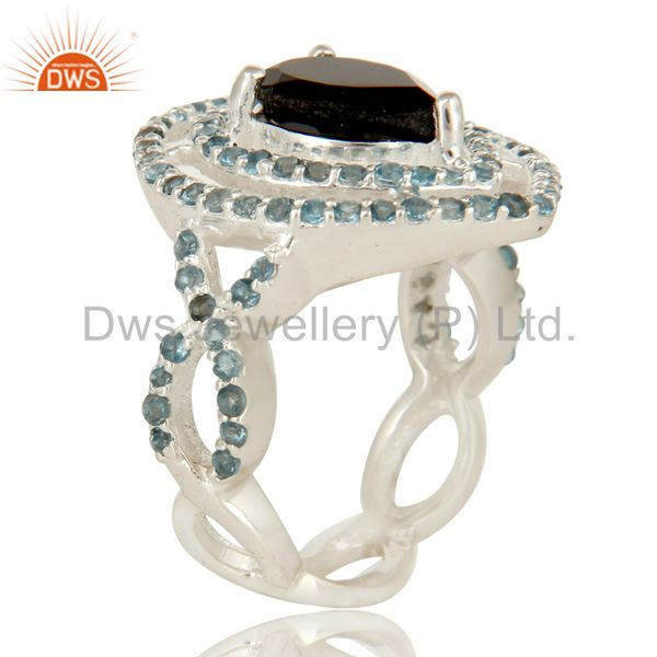 Suppliers 925 Sterling Silver Black Onyx And Blue Topaz Cluster Infinity Ring