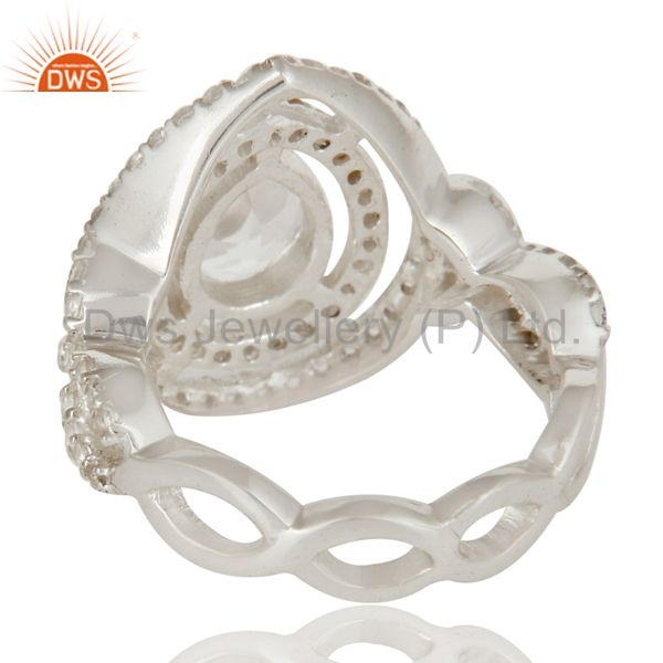 Suppliers 925 Sterling Silver Crystal Quartz And White Topaz Infinity Design Ring
